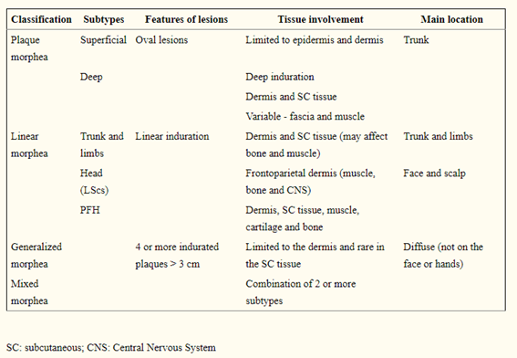 Description of the different manifestations of localized scleroderma